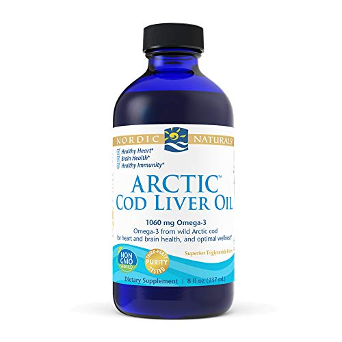 Nordic Naturals Arctic Cod Liver Oil, Unflavored - 8 oz - 1060 mg Total Omega-3s with EPA & DHA - Heart & Brain Health, Healthy Immunity, Overall Wellness - Non-GMO - 48 Servings