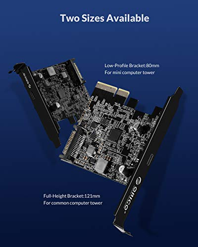ORICO USB PCIE Karte, Typ C PCI-Express 4X zu USB 3.2 Gen 2x2 (20 Gbit/s), ASM3242-Chipsatz für Windows 8/10 / Linux, kompatibler Steckplatz: PCIe x4 (3.0), PCIe x8, PCIe x16