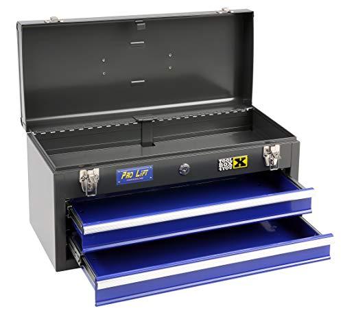Pro-Lift-Werkzeuge Werkzeugkiste 2 Schubladen und Deckel 2 Tragegriffe schwarz/blau Werkstattkiste Transportbox Werkzeugkoffer Tragekoffer