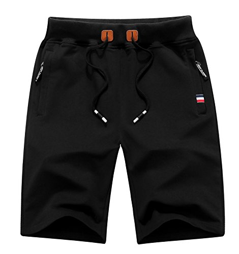 MO GOOD Mens Casual Jogging Shorts Fashion Workout Shorts (Black, US (34-35))