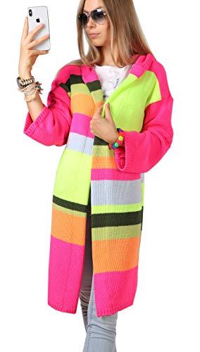 Mikos* Damen Frauen Strickjacke Pullover Cardigan Mantel Long Lang Kapuze Neon Farben (679)