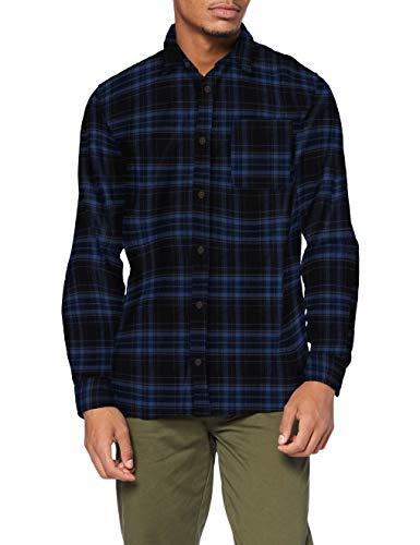 JACK & JONES Herren JJPLAIN PRE Check Shirt LS Hemd, Black, M