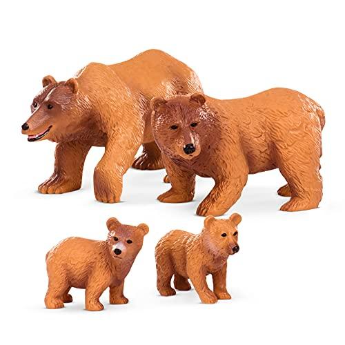 Terra Bären Familie Tiere Figuren – 2 große Braunbären und 2 Jungen – Tierfiguren Spielzeug für Kinder ab 3 Jahren (4 Teile)