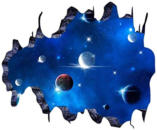 TJJS Wall Sticker 3D Beautiful Living Room Style 3D Removable PVC Galaxy Space Tv Art Wallpaper