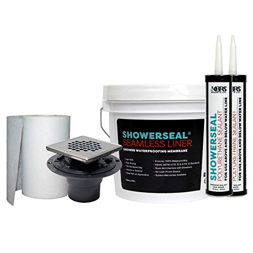 KBRS Waterproofing Pack #2 Shower Installation Kit Includes: Liquid Waterproofing Membrane, Seam Fabric, Polyurethane Sealant (2 Tubes), and Square Stainless Steel PVC Drain