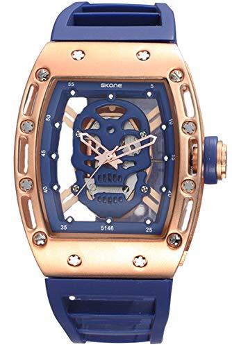 Mens Skeleton Pirate Watches 3D Skull Transparent Crystal Designer Fashion Black Silicone Quartz Watch (Blue)