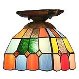 DALUXE Tiffany Lámpara de Techo Multicolor Luminaria de Cristal Estilo Barroco Mediterráneo para balcón Sala de Cocina Entrada Colorida E27 Ø19 * H18CM