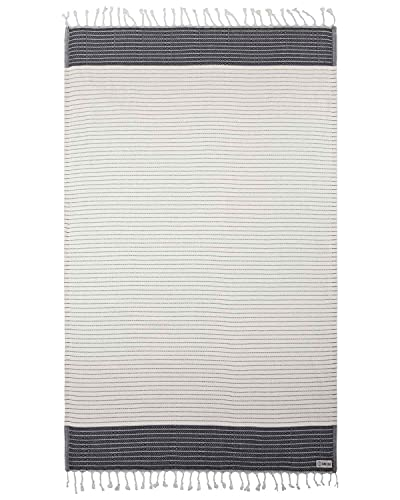 Turkish Towel - Peshtemal Cotton - Great for Beach or Home or as a Blanket - The Letoon (37x69) (Black)