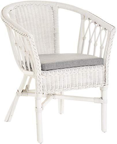 korb.outlet Stapelbarer Rattan-Sessel/Stuhl aus Natur-Rattan inkl. Polster in der Farbe Weiß