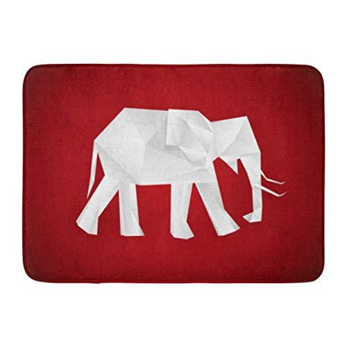 """MARIODP Alfombrilla Antideslizante para Puerta de baño Elefante de Origami Blanco sobre polígono Rojo Animal geométrico Mezcla en Blanco 15.8""""x23.6"""""""