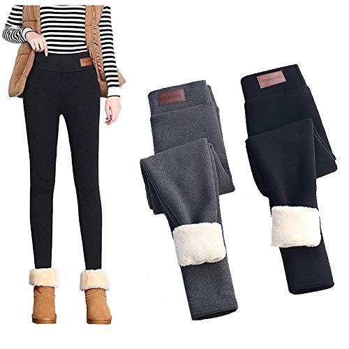 LUANXIU Leggings con forro polar, pantalones de cachemir de lana de terciopelo grueso y cálido de invierno sólido para mujer (gris, 2XL)