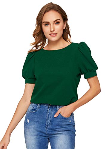 SheIn Women's Puff Sleeve Blouse for Work Plain Office Top Shirt Army Green Small