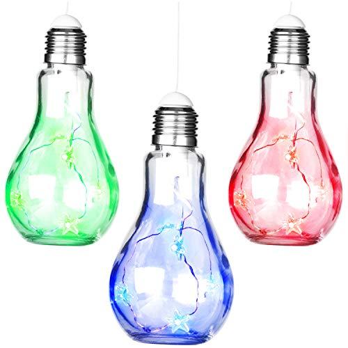 COM-FOUR® 3x decoratieve gloeilamp met LED-lichtketting - gekleurde LED-decoratieve verlichting voor ophangen en plaatsen - LED-lamp in gloeilampdesign (03 stuks - blauw/groen/rood)