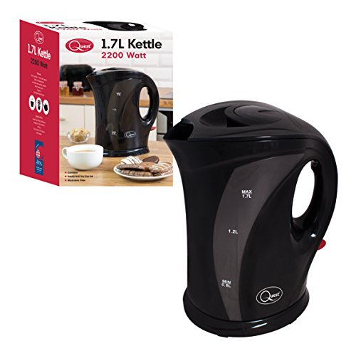 Quest 35100 1.7 Litre Kettle | Strix Controller | LED Switch | Dual Water Indicator | Removable and Washable Filter, Plastic, 2200 W, 1.7 liters, Jet Black