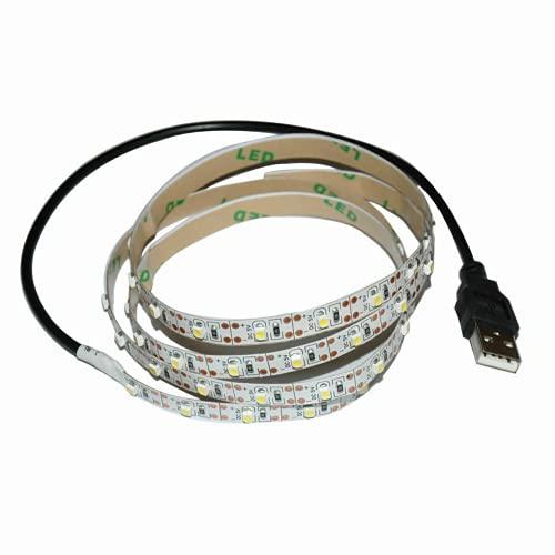 AUSUKY Cable USB de 5 V 2835 tira de LED lámpara de cadena TV PC monitor luz de fondo de luz sesgo (blanco cálido, 1 m)