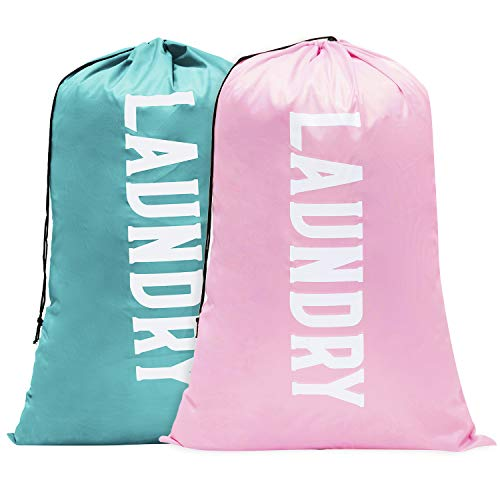 Nidoul 2 Pack Extra Large Laundry Bag, Heavy Duty Travel Laundry Bag, Drawstring Closure Dirty Clothes Bag, Durable Rip-Stop Bag for Camp Dorm, Machine Washable (Pink&Blue, 24' x 36')