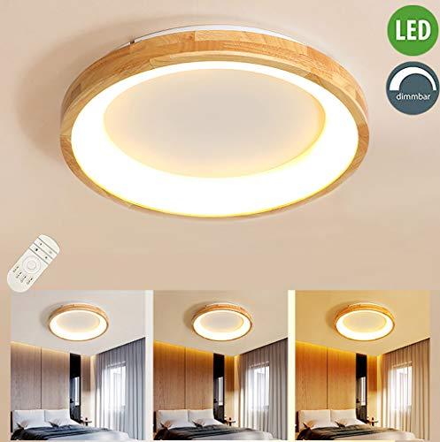 LED woonkamer houten plafondlamp 16W dimbaar slaapkamer plafondlamp met afstandsbediening rond massief hout acryl design kroonluchter voor binnen slaapkamer hotel keuken kinderkamer plafondlamp, Ø32cm