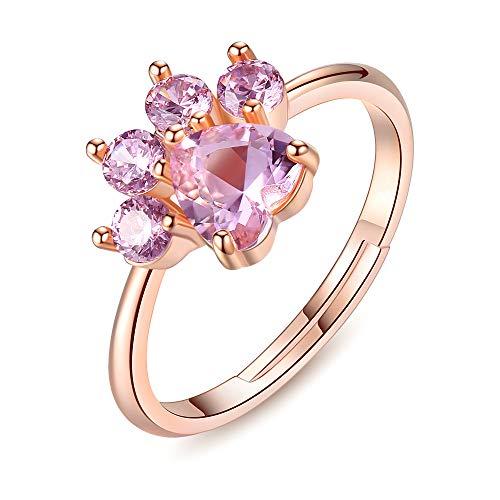 Allring, anello in argento da donna, personalità creativa, con impronte di cane, in oro rosa, con cristalli, anello in argento, elegante regalo per donne e ragazze