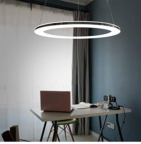 LED 36W Pendelleuchte Modern Dimmbar Hängeleuchte Ring Design Höhenverstellbar Hängelampe Edelstahl und Weiß Acryl Pendellampe mit Fernbedienung für Wohnzimmer Küche Büro Lampe Φ60cm