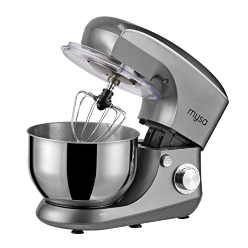 MYSA SM-1502 Stand Mixer Tilt Head Food Mixer 5.5 Litres Bowl with Splash Guard and 6 Speed with 800 W Power for Baking and Cooking, Stainless Steel Bowl, Dough Hook, Wire Whisk and Beater, Grey