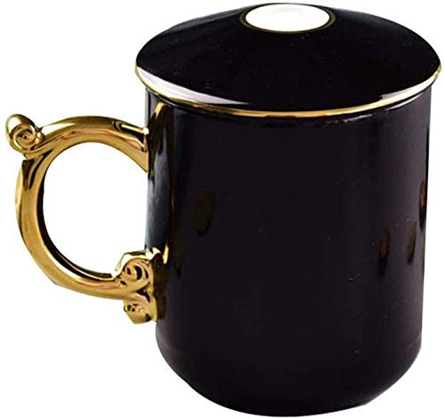 GJJSZ Keramik Kaffeetasse Keramik Creative Cover Bone China Teetasse Werbegeschenk Tasse Bone China Cup Kreatives Geburtstagsgeschenk(Farbe: Schwarz,Größe: 500ml)
