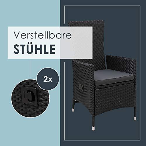 ArtLife Polyrattan Sitzgruppe Rimini Plus 9-teilig schwarz | Gartenmöbel Set mit Tisch, 8 Stühlen & Kissen | graue Bezüge | Rattan Balkonmöbel - 4