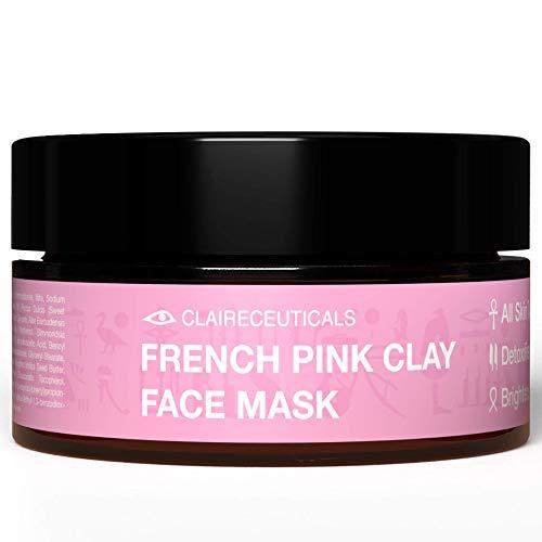 CLAIRECEUTICALS Gesichtsmasken Beauty Set - Vegane Pink Clay Mask, Anti Pickel Maske Gesicht für glatte Haut - natürliche Beauty Masken mit Tonerde, Gesichtsmaske Beauty, Detox Maske Gesicht - 100ml
