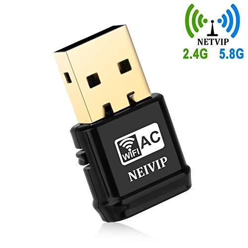 NETVIP Adattatore WiFi Scheda di Rete AC 600Mbps Dual Bande (150bps/2.4G & 433Mbps/5.8G) USB 2.0, Mini Chiavetta Compatibile con PC/Desktop/Laptop Supporto Windows 10/8/7 / Vista/XP/Mac OS