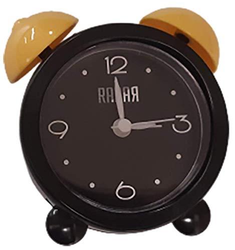 VXI - Reloj analógico Despertador Analógico. Alarm Clock. Alarma para Escritorio. Led Alarm Clock Analógico Buro. Radio Reloj de Led. Reloj Cirular Analógico 4608. Color Negro/Amarillo