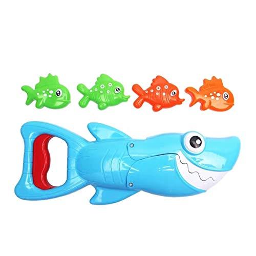 OocciShopp Pinza de tiburón, tiburón pez Grande Atrapado Peces pequeños Juguetes de baño para niños baño Piscina Jugando en el Agua (Azul + Verde + Amarillo)