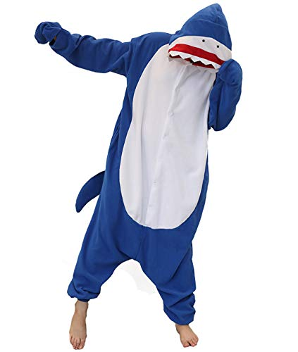 Shark Costume Adult One Piece Pajamas Unisex Halloween Christmas Costume for Women Men Blue
