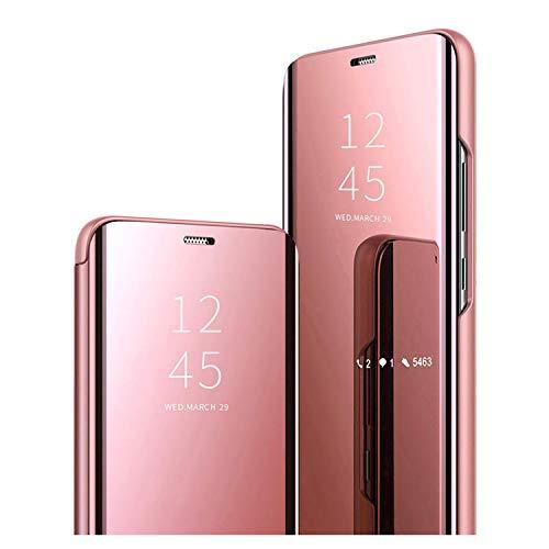 GOGME Cover per Samsung Galaxy A12 / M12, Premio PC/PU Custodia con Specchio, Smart View Mirror Flip Case, Clear View Standing Flip Cover con Supporto Pieghevole. Oro Rosa
