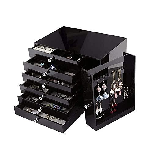 JIANGCJ Bella Jewelry Box Organizer para Mujer de 6 Capas de 6 Capas Joyas de Gamuza Jewelry Jewelry Organizer para Anillo Collar Pendiente Reloj