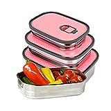 Acero Inoxidable Fiambrera, Winnes 3pcs Portátil Lonchera Contenedor hermetica Recipientes para Alimentos con Tapa Reutilizable Fiambrera para Horno/Congelador/Sin BPA (Rosa)