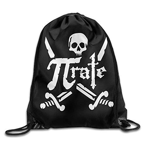 Etryrt Turnbeutel/Bedruckte Sportbeutel, Premium Drawstring Gym Bag, Awesome Pi Pirate Skull Unisex Portable Sack Bag Cool Gym Drawstring Backpack One Size