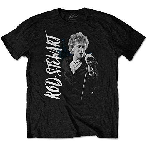 Rod Stewart Mic Stand Pose Blood Red Roses tee T-Shirt Mens