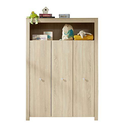 trendteam smart living Babyzimmer Kleiderschrank Schrank Olivia, 130 x 186 x 54 cm Eiche Sägerau hell mit viel Stauraum