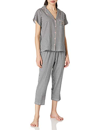 Women' Secret Pijama Camisero Capri cuadritos Vichy, Negro, XL para Mujer