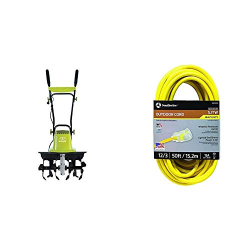 Sun Joe TJ604E 16-Inch 13.5 AMP Electric Garden Tiller/Cultivator,Black & Southwire 2588SW0002 Outdoor Extension Cord- 12/3 American Made SJTW Heavy Duty 3 Prong Extension Cord (50 Foot- Yellow)