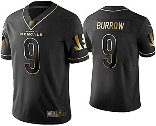 Burrow # 9 Bengals Herren Rugby-Trikot, American Football Jersey Polo-Shirt Wettbewerb Trainingskleidung Bestickte schnell trocknende Sportbekleidung Black-M