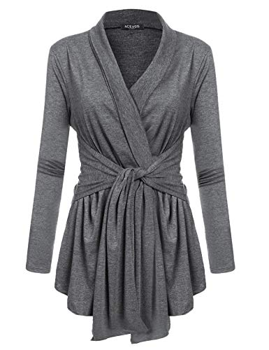 ACEVOG Women's Drape Cardigan Loose Casual Long Sleeved Open Front Cardigans Basic Irregular Hem Solid Dusters Lightweight Sweater with Tie Dark Grey