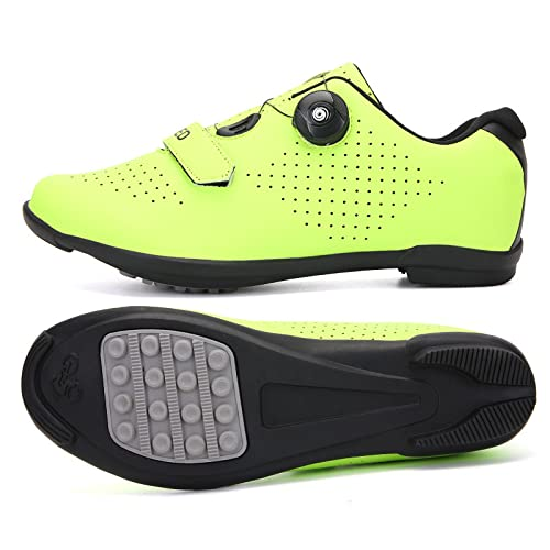 KUXUAN Zapatos de ciclismo para hombre y mujer, zapatos de bicicleta de carretera Spin Shoestring, zapatos de equitación Peloton, verde-39EU