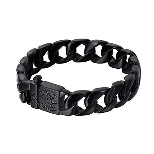 Jubuk Heren armband Dikke Ketting Effen Goud Zwart RVS Mannen Curb Cubaanse Armband Mannelijke Biker Schedel Hand Sieraden Mens Armbanden & Bangle 15mm