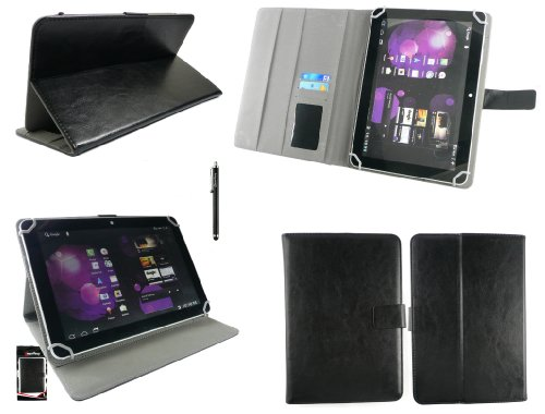 emartbuy® Denver TAQ-10133 10.1 Zoll Tablet Universalbereich Schwarz Multi Winkel Folio Executive Case Cover Wallet Hülle Schutzhülle mit Kartensteckplätze + Schwarz Eingabestift