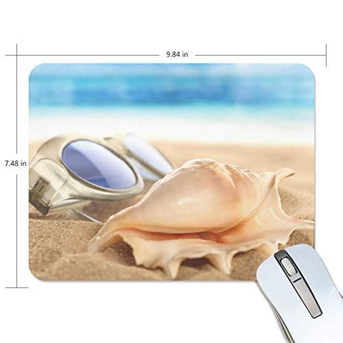 Alfombrilla de ratón rectangular con diseño de concha de arena y gafas de arena para juegos de goma antideslizante, 7.9x9.5 pulgadas