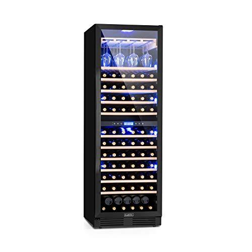 Klarstein Vinovilla Onyx Grande Duo Weinkühlschrank, 425 Liter, 165 Weinflaschen, Glastür, 3-farbige Innenbeleuchtung, 2 Zonen, 12 Buchenholzeinschübe, Weinglasträger für bis zu 24 Gläser, schwarz