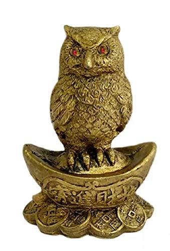 Billion Deals Feng Shui Owl A Symbol of Wisdom Protection Wealth Enhancer Prosperity Lucky Ingot & Bed Coins Statue Money Good Luck Figurine Home Decor