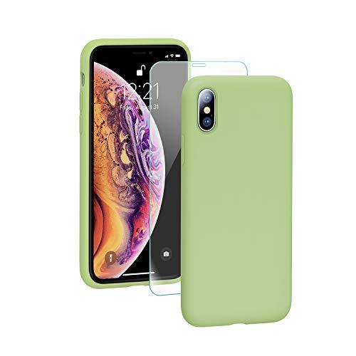SmartDevil iPhone X/XS Hülle Silikon [Freier Schutzfilm] Stoßfest Dünn Handyhülle Luxusausgabe Silikon iPhone X/XS Schutzhülle mit Soft Microfaser Tuch Futter Bumper Hülle Cover