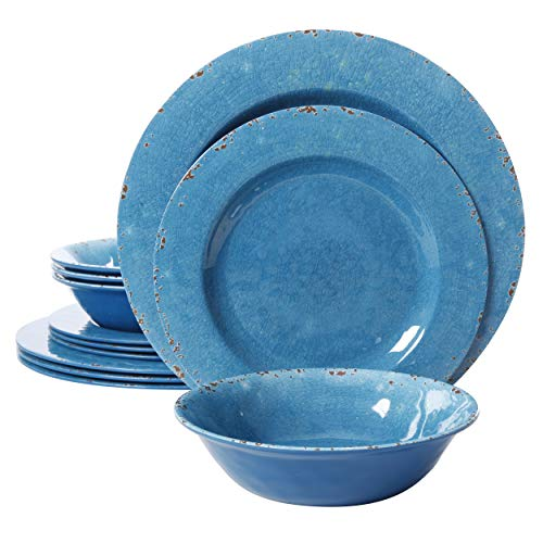 Gibson Home Mauna Round Heavyweight Melamine Dinnerware Set, Service for 4 (12pcs), Light blue