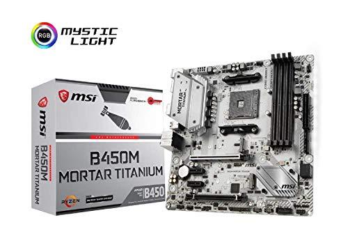 MSI B450M Mortar Titanium, Sockel AM4, DDR4, HDMI, DisplayPort, 2x M.2, 2x USB 3.1 Gen2, 6x USB 3.1 Gen1 Micro-ATX Mainboard